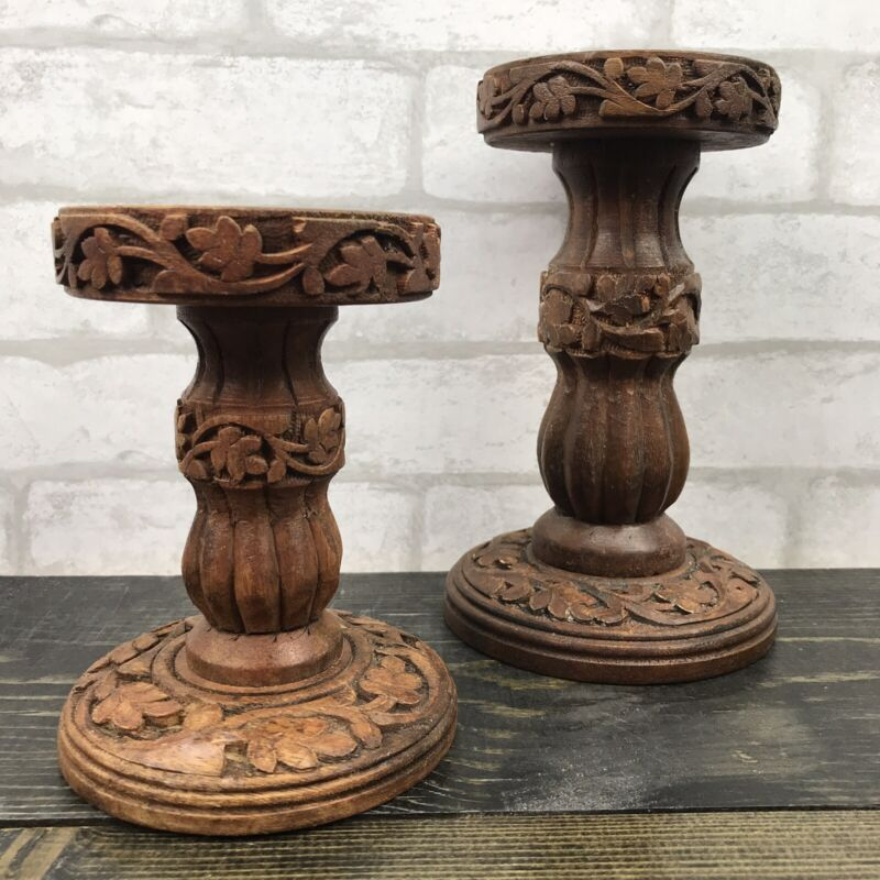 Handcarved Wood Tiered Candle Holders Set of 2