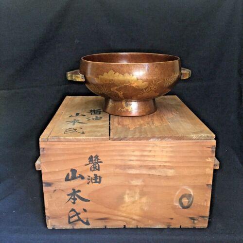 Fine Meiji Period Lacquerware Footed Bowl w/Original Wood Box Crane
