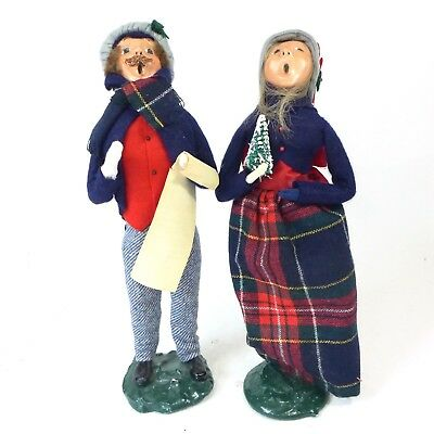 Lot of 2 Vintage BYER's CHOICE Christmas Xmas Christian Carolers Figures Tall