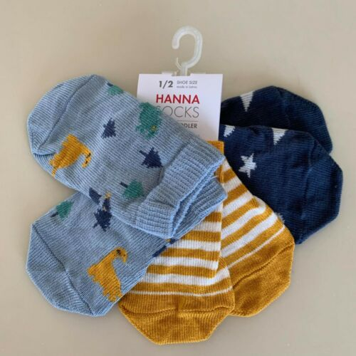 "Hanna Andersson Awesome Baby Boys 3 Pack ""PLAY SOCKS"" 1/2, 0-6 Months. So Comfy!"