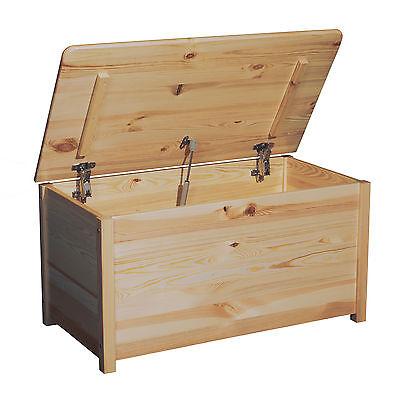 Kinder Spielzeugkiste Holz unbehandelt Spielzeugbox Truhe mit Deckel Box groß