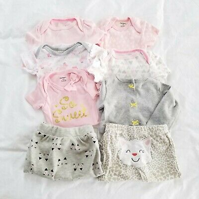 0-3 Months Baby Girl Clothes Lot Tops Pants Pink Gray Bodysuits Newborn Clothing