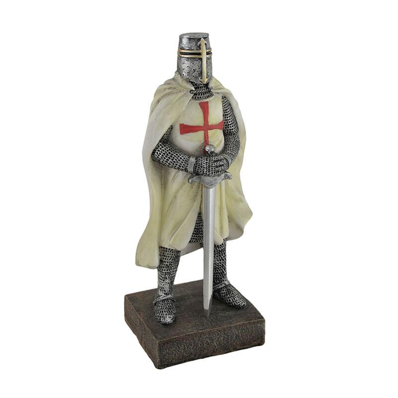 Zeckos Medieval Templar Knight in Battle Holding Sword Armor Statue