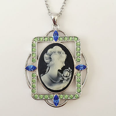 Nw Vintage Style Angel Cameo Black Oliv Charm Pendant Charm Necklace Gift - Vintage Cameo Pendant Necklace