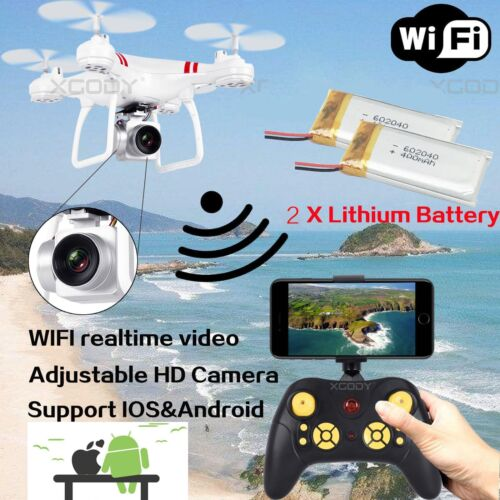 2 Battery WIFI Camera Drone FPV 2.4Ghz 4CH 6-Axis RC Quadcopter HD RTF Explorer