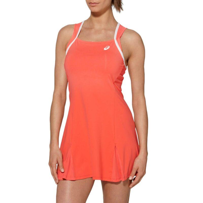 Asics Womens Club Sleeveless Training Sports Active Tennis Dress Top - Coral