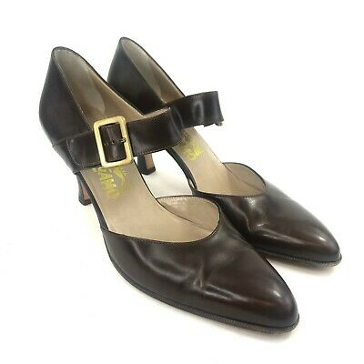 Salvatore Ferragamo Pointed Pumps Brown Patent Leather Mary Jane Size 9 AAAA Brown Patent Pumps