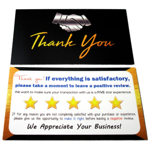 100 eBay Thank You Cards Business Black
