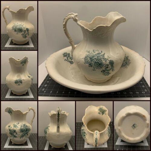 Buffalo China Pottery Green Floral Chrysanthemum Antique Washbowl Pitcher