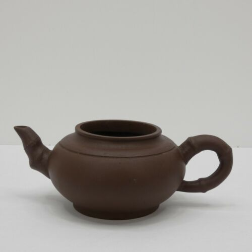 Clay Teapot Bamboo Shaped Handle and Spout