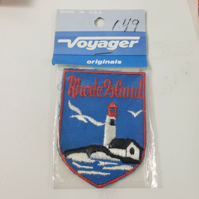 """Rhode Island State Sew On Patch - Vintage Old Stock 3"""" X 2"""""""