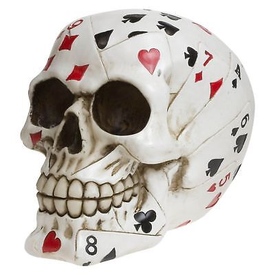 Dead Mans Hand Skull 12cm High Playing Deck of Cards Poker Gambler Gothic