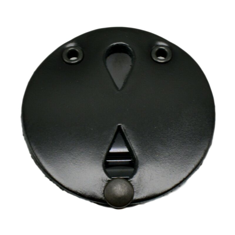 Perfect Fit Universal Round Clip on Badge Holder with snap chain Black Leather