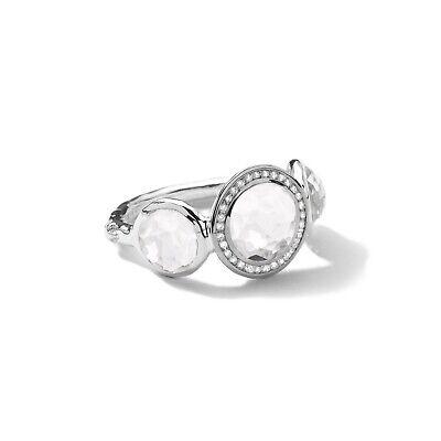 IPPOLITA Sterling Silver Stella Lollipop Ring in Clear Quartz w/ Diamonds Size 7