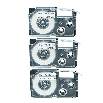 Us Stock 3pk Xr-9we Black On White Label Tape For Casio Ez Printer 38 X 26
