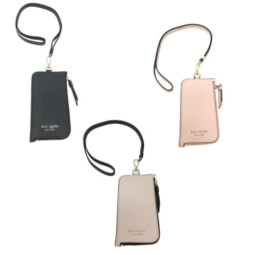 Kate Spade Card Case Lanyard ID Holder Leather/Nylon Credit Card Wallet