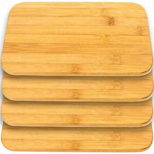 4x SOLID BAMBOO WOODEN BREAKFAST PLATE Dinner Food Serving Platter Cutting Board