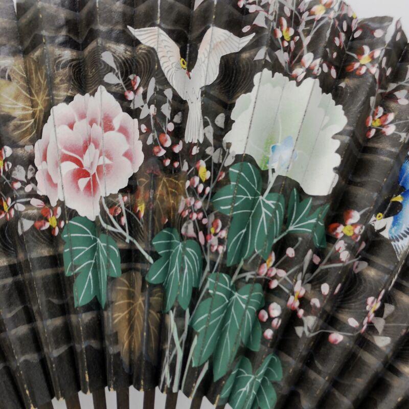 1930s-40s Hand Painted Fan Fro Japan Butterflies Flowers Bird