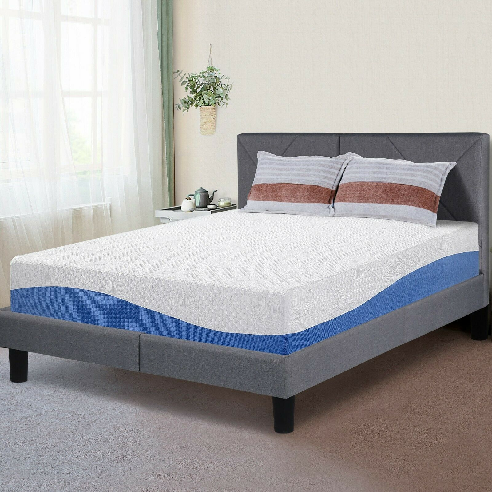 SLEEPLACE 10 Inch I GEL Memory Foam Mattress , Bed, Blue / G