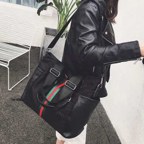 Schwarz Nylon Damentasche Shopper Handtasche Schultertasche Umhängetasche Groß