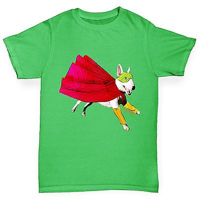 Twisted Envy Boy's Super Hero Dog Bull Terrier Premium Cotton T-Shirt - Boy Super Hero