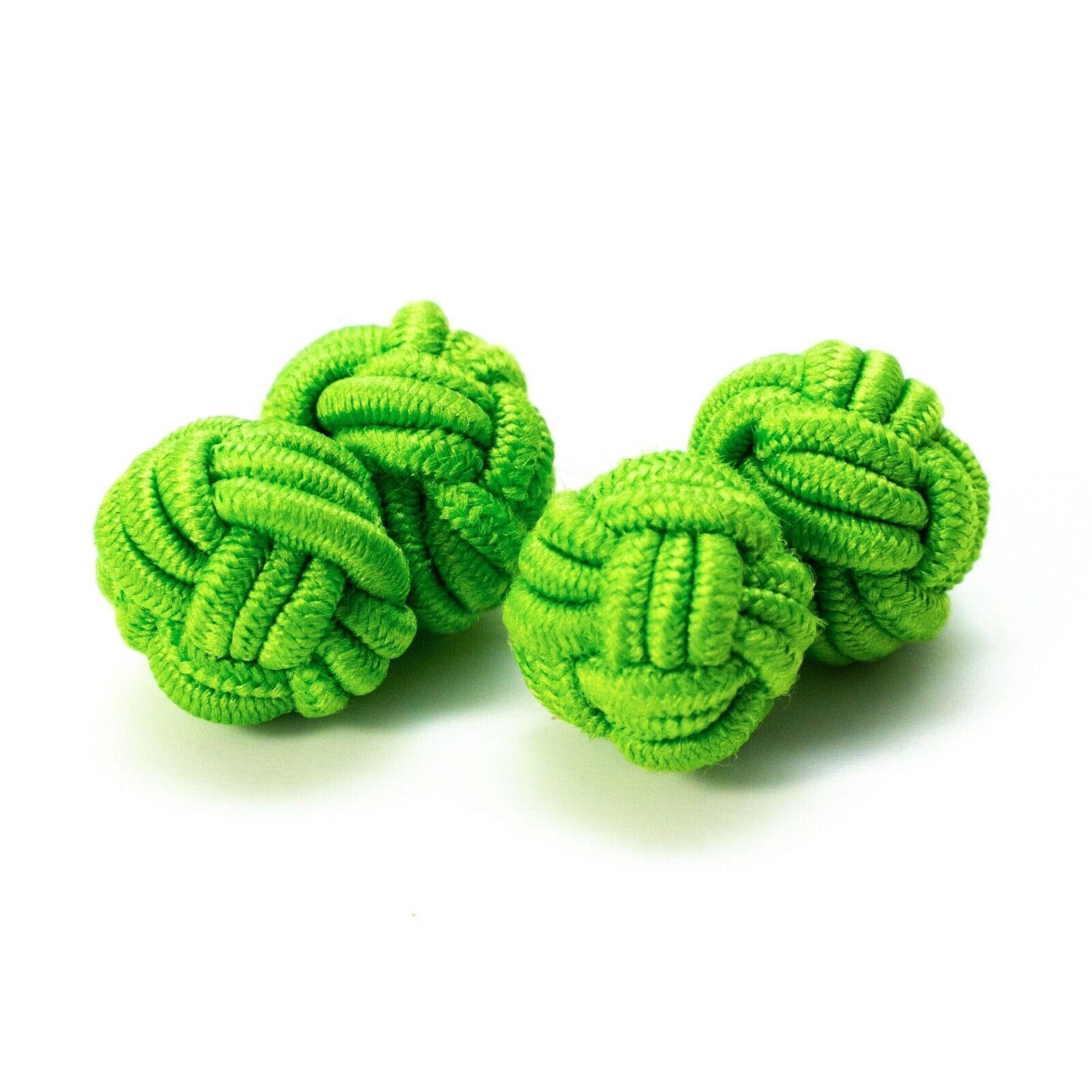 1 Paar Seidenknoten Manschettenknöpfe Knötchen froschgrün Umschlagmanschette