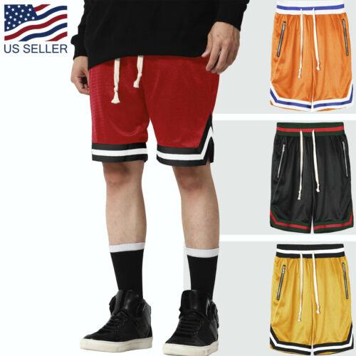 Mens Shorts Track Stripe Mesh Training Gym Soft Summer Pants Drawstring Casual