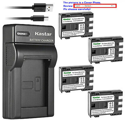 Kastar Battery Slim USB Charger for Genuine Canon OEM NB-2LH NB-2L 2L E160814