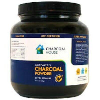 Coconut Medicine (2QT Glass Jar Detox 1600 Activated Charcoal Powder Coconut shell USP medicinal )