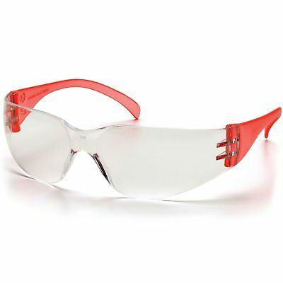 Pyramex Intruder Safety Glasses With Clear Lens Red Temples