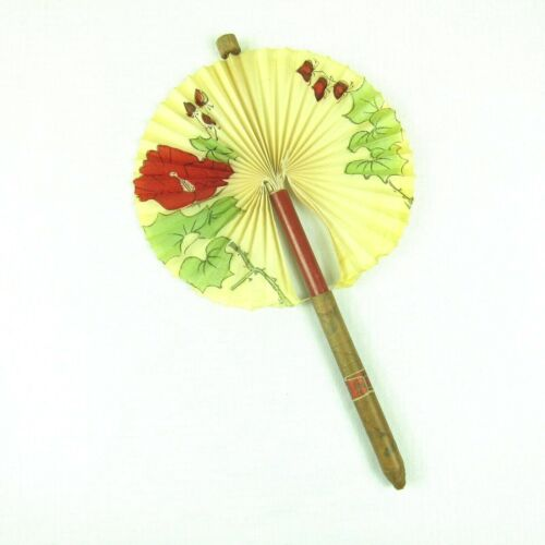 Vintage Cigar Paper Fan Pull Out Novelty 12.5 inch Red Floral Blossom Made Japan