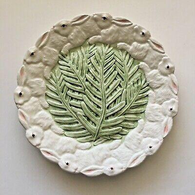 MUDD PIE Bunny Rabbit Decorative Plate Raised Greenery 8 1/4