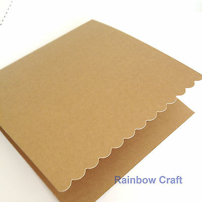 10 blank Cards & Envelopes SQUARE or C6 (9 Colors) - Scallop Wedding Invitation - Sq Nature