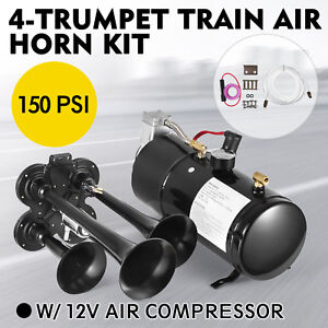 4-trumpet 150 psi air system 150db+ metal 12v train air horn kit for car