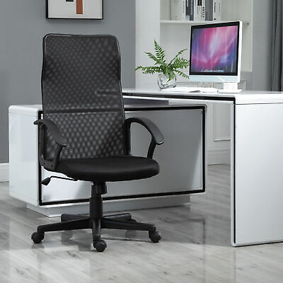Executive High Mesh Back Office Chair W Fixed Armrests Adjustable Height