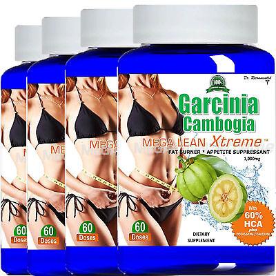 4 Garcinia Cambogia Extract 1000Mg Pure 100  Hca Weight Loss Potassium Calcium