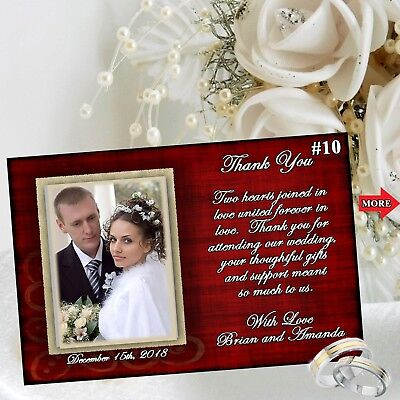 Wedding Thank You Cards with Envelopes Personalized Custom Made