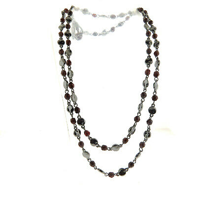 Hematite and Crystal Bead Necklace Long Strand 39