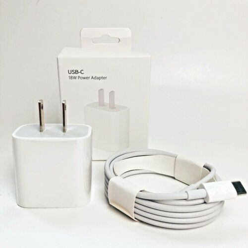 18W Fast Charger USB-C Adapter Cable Cords for iPhone 12/11/12 Pro Max /XR/iPad
