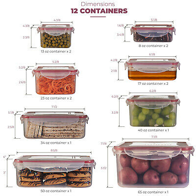 Airtight Food Storage Plastic Containers with Lids Set of 12 BPA-Free, Stackable ()