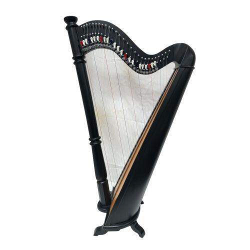 27 Strings Lever Pilar harp Round Back Rosewood Black Polish steel bass strings