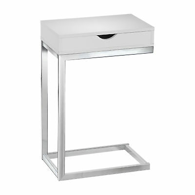 Monarch Specialties Contemporary Accent Side End Table with Drawer, Glossy White