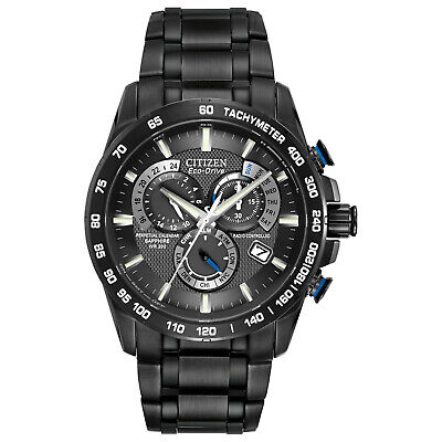 Citizen Eco-Drive Men's AT4007-54E Chronograph A-T Black Dial Band 42mm Watch