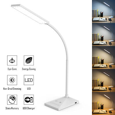 Led Adjustable Night Light - LED Desk Lamp Home Table Lamp 7 Levels Adjustable Night Light + USB Port