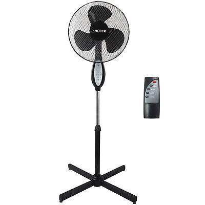 Black Remote Control Standing Pedestal Stand Fan Adjustable Oscillating Rotating