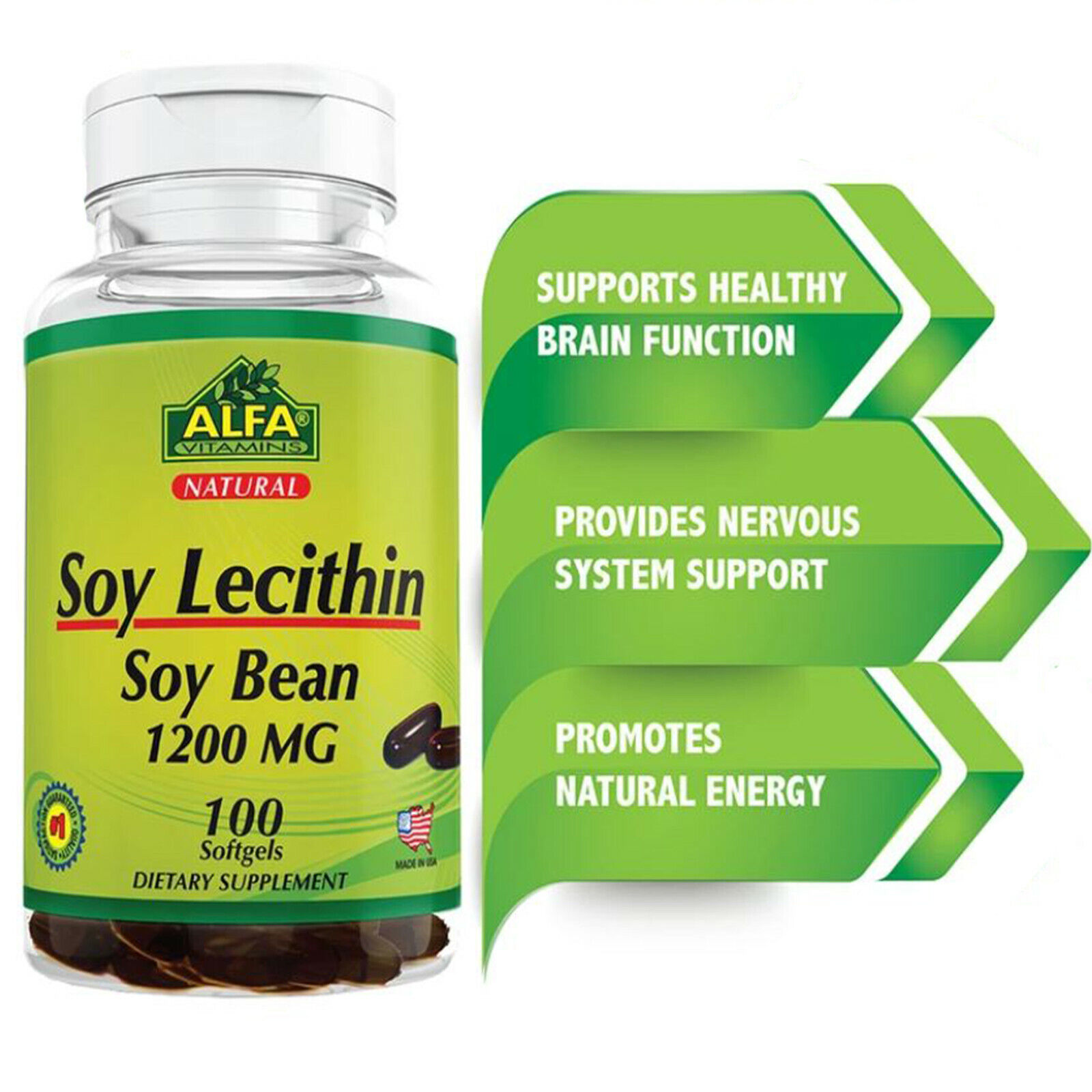 Soy Lecithin 1200mg, Supplement 100 Softgels