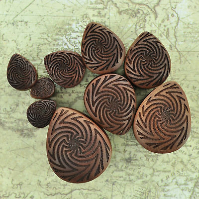 Rose Wood Teardrop Plugs Organic Natural Ear Gauges Rose Natural Wood