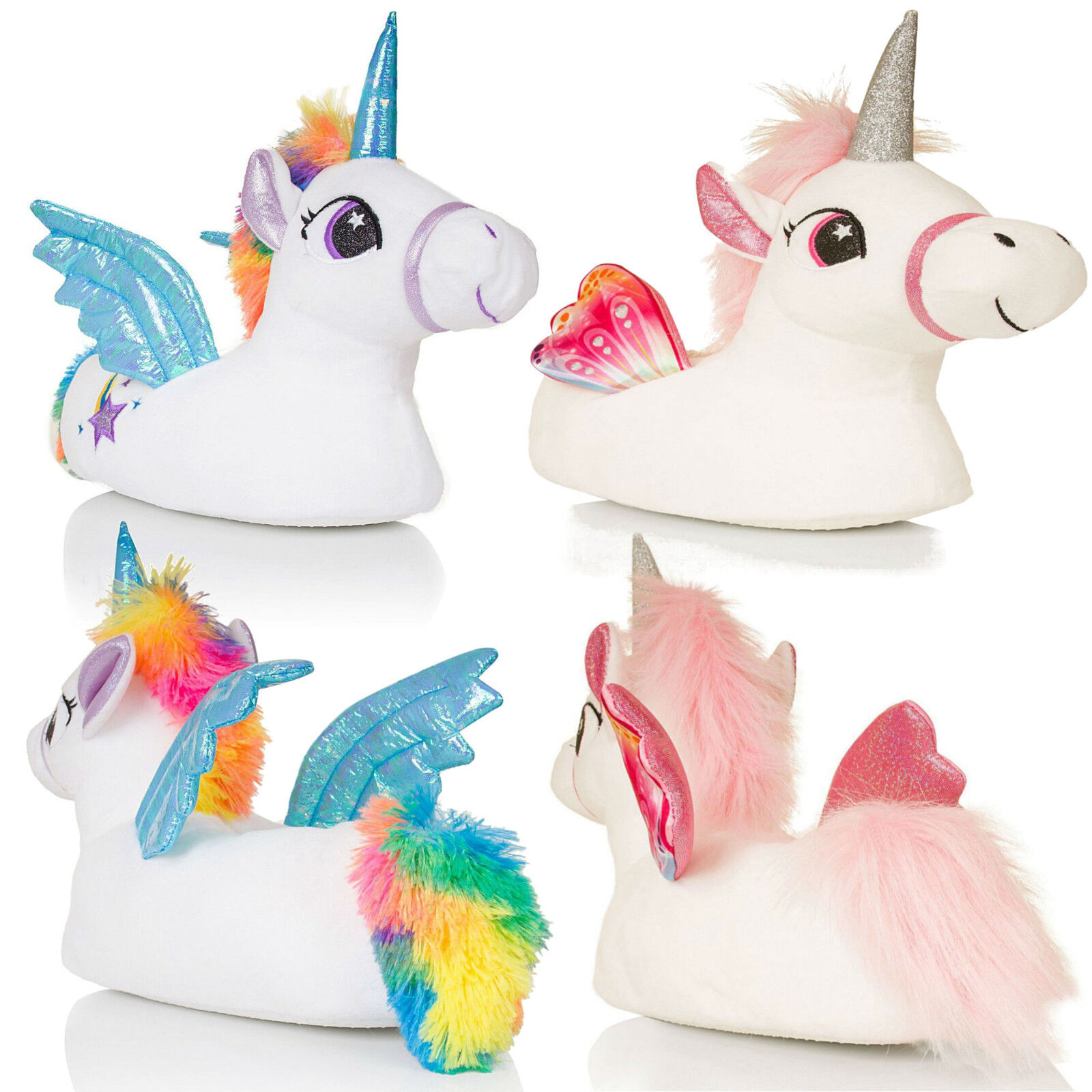 c3c84892671 Details about Matching Mother   Daughter Novelty 3D Plush Magical Winged Unicorn  Slippers Gift