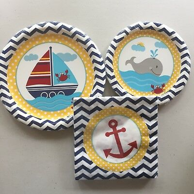 Ahoy Matey Whale Boat Nautical Birthday Party Shower Paper Plates Napkins For 8 (Whale Paper Plates)