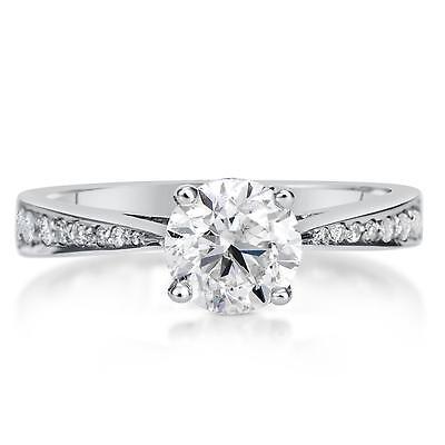 1.5 Round Cut Diamond Engagement Ring  VS1/D 14K White Gold 4295